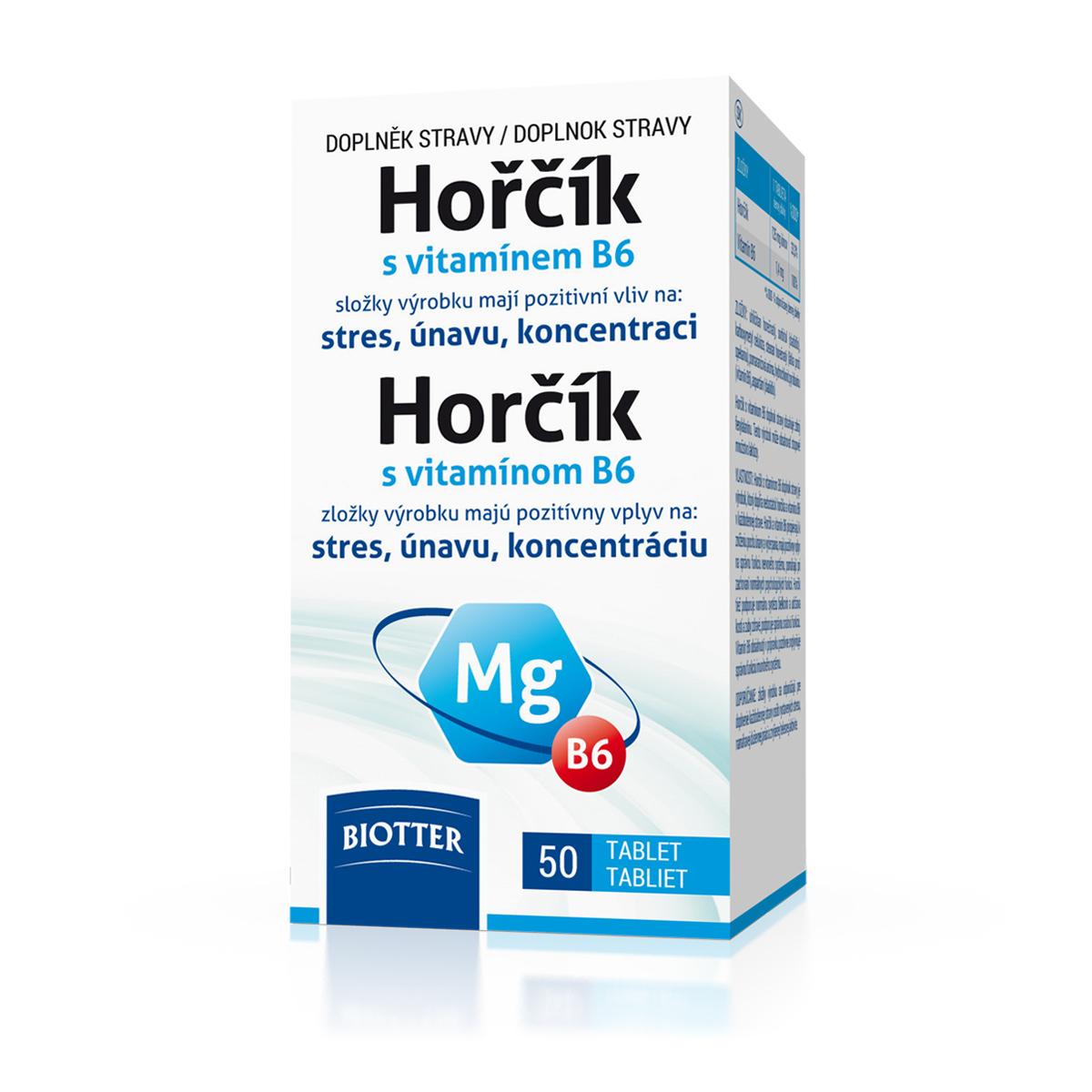 Biotter Hořčík 125 mg s vitamínem B6 50 tbl