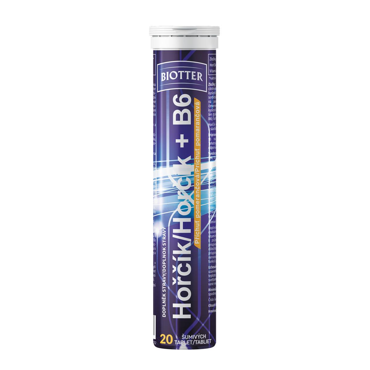 Biotter Hořčík s vitamínem B6 20 ks šumivých tablet