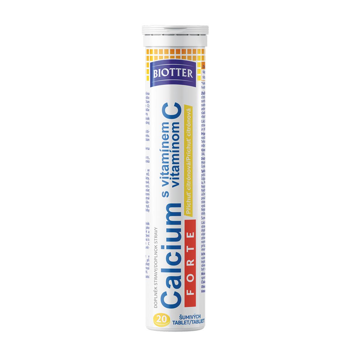 Biotter Calcium s vitamínem C FORTE 20 ks šumivých tablet citron