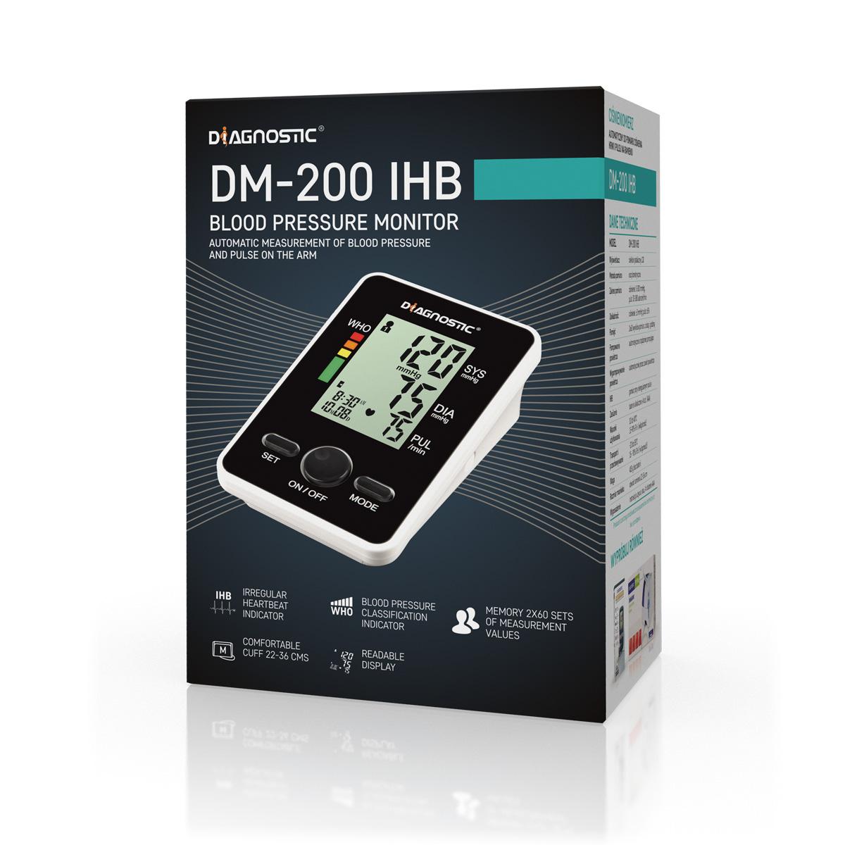 Diagnostic Tlakoměr automatický pažní DM-200 IHB pro 2 uživatele