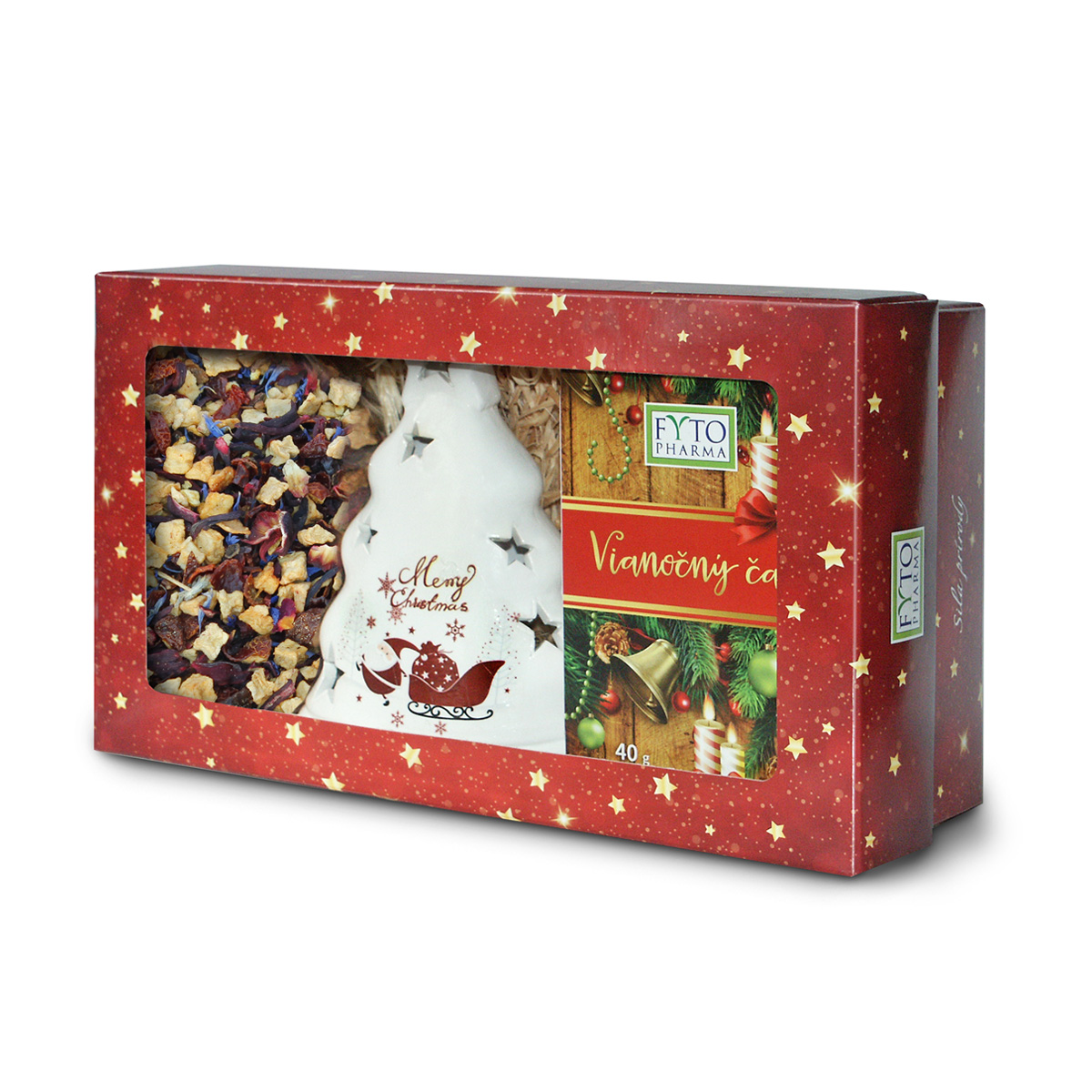 Fytopharma Dárková kazeta Vánoční čaje sypaný 100 g + porcovaný 20 x 2 g + svícen