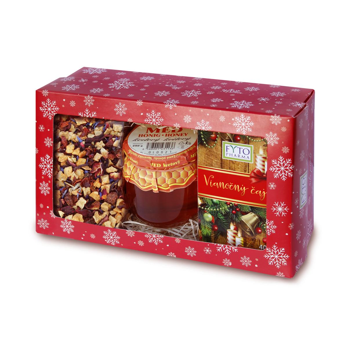 Fytopharma Dárková kazeta Vánoční čaje sypaný 100 g + porcovaný 20 x 2 g + med 250 g