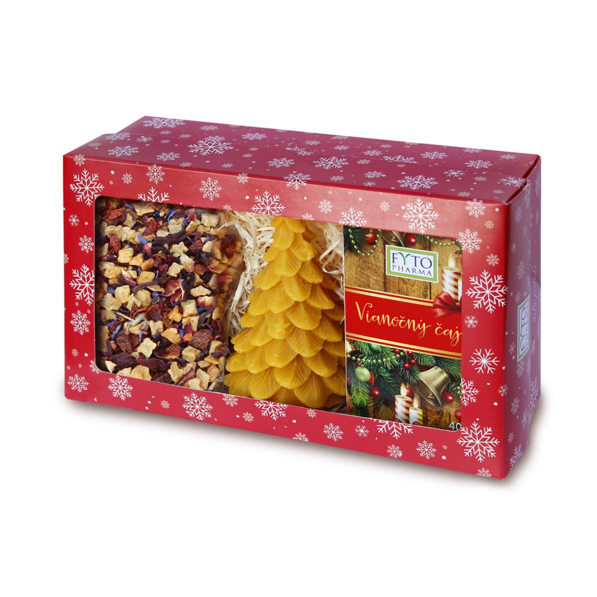 Fytopharma Dárková kazeta Vánoční čaje sypaný 100 g + porcovaný 20 x 2 g + svíčka
